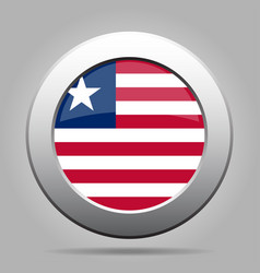 flag of liberia shiny metal gray round button vector image
