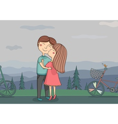 girl kissing boy on the cheek with vector image vector image