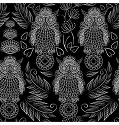 seamless pattern with lace decorative owls vector image vector image