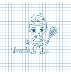 Sketch Girl Tennis-Player vector image