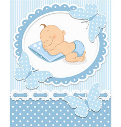 Sleeping baby boy vector image vector image