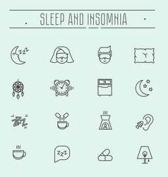 thin line icons sleep problems and insomnia vector image vector image