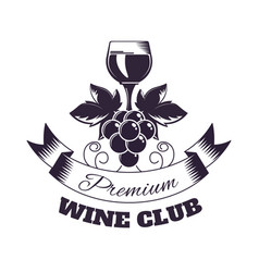 wine club isolated monochrome emblem with glass vector image vector image