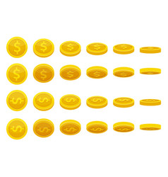 different positions of golden coins vector image vector image