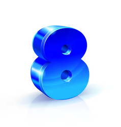 glossy blue eight 8 number 3d on vector image vector image
