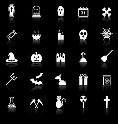 Halloween icons with reflect on black background vector image vector image