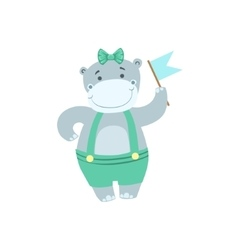 Hippo Cute Animal Character Attending Birthday vector image