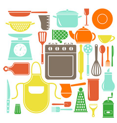 colorful kitchen icons set flat style vector image vector image
