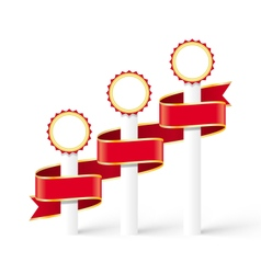 Festive Winners Medals with Curved Red Ribbon vector image