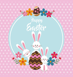 happy easter bunnies egg floral dots background vector image