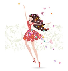Happy girl with flowers on her head greeting card vector image