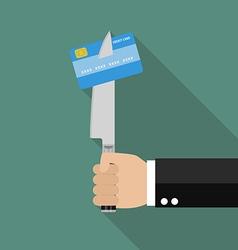 Man knifed credit card vector image