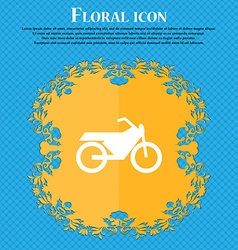 Motorbike icon sign Floral flat design on a blue vector image vector image