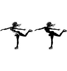 Stylized silhouette of a girl on skates vector image vector image