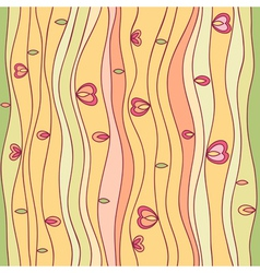 Wavy line seamless pattern with leaves and hearts vector image vector image