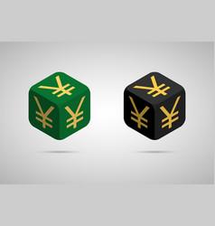 yen green and black japanese yen cube vector image