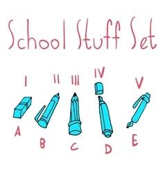 cartoon flat school set icon stickers vector image vector image