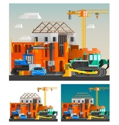 Construction And Machines Compositions Set vector image
