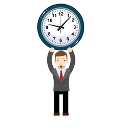 funny cartoon businessman with clock vector image