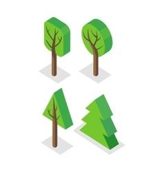 Green Tree Set Icons vector image