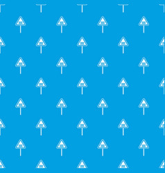 warning road sign pattern seamless blue vector image vector image