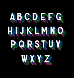 3d isometric font with colored stripes shadow vector image