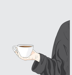a woman is holding a cup of coffee vector image