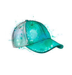 abstract baseball cap from a splash watercolor vector image