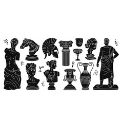 Antique statues sculptures greek tradition icons vector