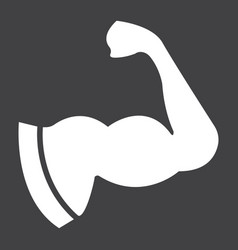 Arm muscle glyph icon fitness and sport biceps vector