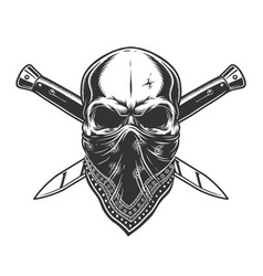 bandit skull with bandana on face vector image