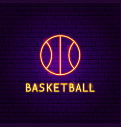 basketball ball neon label vector image