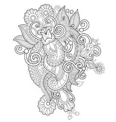 Black and white zentangle line art flower drawing vector