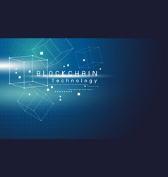 blockchain technology design on blue background vector image