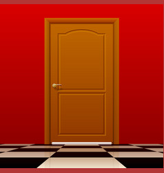 Brown closed door with red wall and glossy chess vector