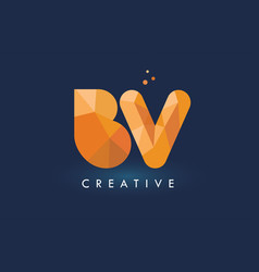 Bv letter with origami triangles logo creative vector