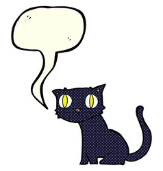 cartoon black cat with speech bubble vector image
