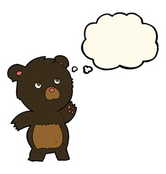 Cartoon curious black bear with thought bubble vector