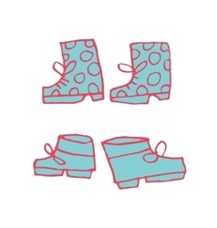 cartoon flat shoes set icon stickers vector image