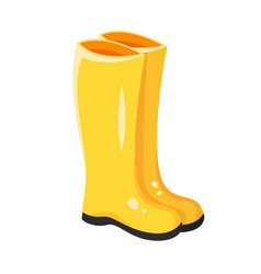Cartoon style of yellow rubber boots vector