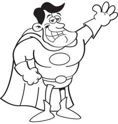 Cartoon super hero waving vector