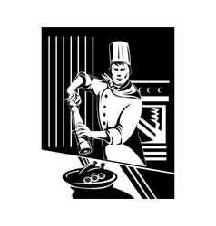 Chef cook baker holding holding pepper shaker vector