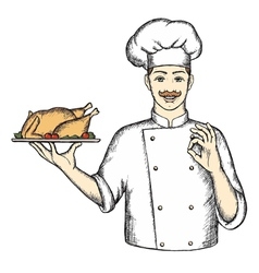 Chef with Turkey the hand drawing vector