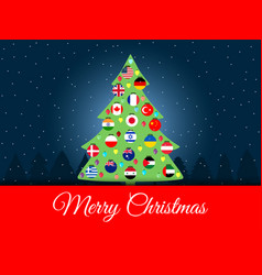 Christmas background international christmas tree vector ...