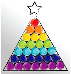 christmas ball tree in rainbow colors vector image