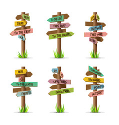 Colored wooden arrow signboards direct set vector