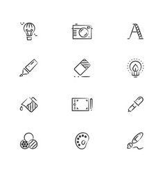 creative and graphic design tools line icons vector image