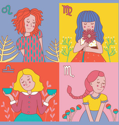 cute horoscope girls zodiac vector image