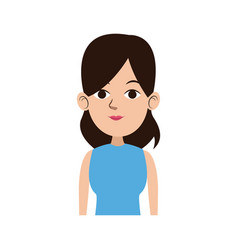 cute woman looking away view front vector image
