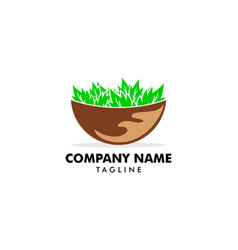 delicious salad vegan icon on bowl design logo vector image